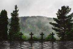 Kors i skogen på en regnig dag royaltyfria foton