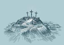 kors jesus Montering Golgotha Konst skissar vektorillustrationen stock illustrationer