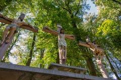Kors Jesus och de två tjuvarna på calvaryen Internationella Shri Arkivfoto