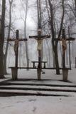 Kors Jesus och de två tjuvarna på calvaryen Internationella Shri Royaltyfri Fotografi