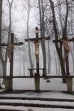 Kors Jesus och de två tjuvarna på calvaryen Internationella Shri Royaltyfria Bilder