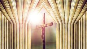 Kors jesus på korset i kyrka royaltyfri fotografi