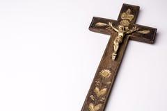 Kors med diagramet av Jesus på vit bakgrund Royaltyfria Bilder