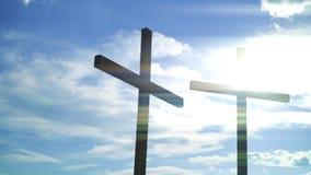 Kors mot solen Kristen och katolska symboler lager videofilmer