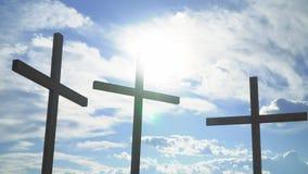 Kors mot solen Kristen och katolska symboler stock video