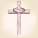 Kors och krona av taggar, ett symbol av drog vektorllustrationen för kristendomen den hand royaltyfri illustrationer
