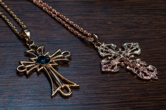 Kors på en svart bakgrund Royaltyfria Foton