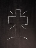 Kors på en svart tavla arkivbilder
