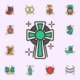 Kors religionsymbol Universell upps?ttning f?r StPatricks dagsymboler f?r reng?ringsduk och mobil royaltyfri illustrationer