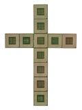 Kors som göras av gamla och smutsiga mikroprocessorer Royaltyfria Bilder