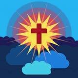 Korsa i skyen Arkivbild