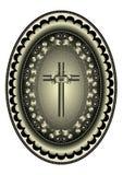 Korsa med kransenav sidor i oval ram Arkivfoto
