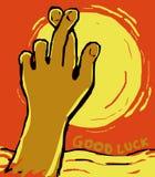 Korsad fingergest av bra lycka Fotografering för Bildbyråer