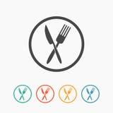 Korsad gaffel- och knivsymbol Fotografering för Bildbyråer