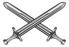 Korsad Retro stil för svärd royaltyfri illustrationer