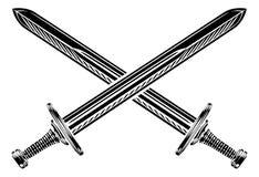 Korsad svärdillustration royaltyfri illustrationer