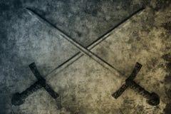 Korsad svärdfantasi Arkivfoto