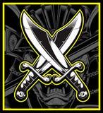 Korsad teckning för svärdvektorhand stock illustrationer