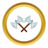 Korsad vektorsymbol för dubbla yxor, tecknad filmstil Royaltyfri Bild