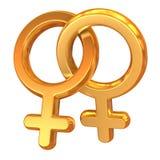 korsade kvinnligsymboler två Arkivfoton