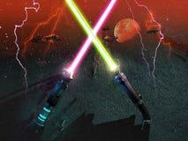 Korsade laser-svärd royaltyfri illustrationer