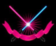 korsade ljusa sabers Fotografering för Bildbyråer