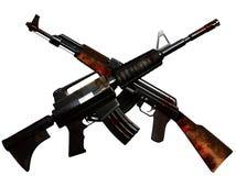 korsade machineguns Arkivfoto