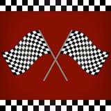 Korsade tävlings- rutiga flaggor Fotografering för Bildbyråer