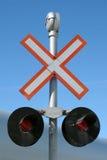 korsande järnvägtecken Fotografering för Bildbyråer