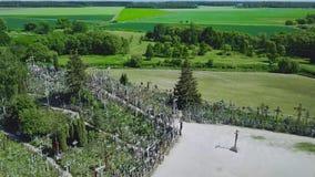 korsar kullen Det är en plats av pilgrimsfärden Siauliai lithuania stock video