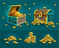 Korsarskie bagażnik klatki piersiowe z złocistych monet skarbami Zdjęcia Stock