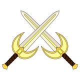 Korsat heligt svärd för tecknad film som isoleras på vit backround medeltida vapen Riddareutrustning vatten för vektor för ny ill royaltyfri illustrationer