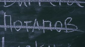 Korsat skriva ut på svart tavla, närbild arkivfilmer