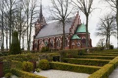 Korsbacka Church in kavlinge skane. The red brick church at kavlinge in the Skane region of Sweden Royalty Free Stock Photography