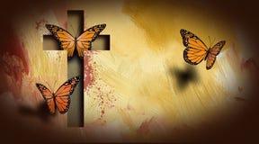 Korset av Jesus inställningsfjärilar frigör Arkivfoton