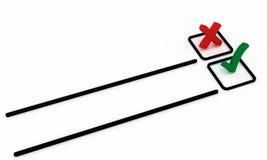 Korset och en tick i valet listar i beställning Royaltyfri Bild