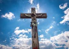 Korsfäst Kristus Arkivfoto