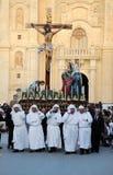 Korsfäste jesus bar vid ett lag av tio portvakter arkivbild