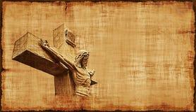 Korsfästelse av horisontalJesus Parchment - Royaltyfri Fotografi