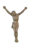 Korsfästelse av Jesus på en vit bakgrund Arkivbild