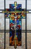 Korsfästelse, jungfruliga Mary och St John under korset Arkivbild