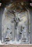 Korsfästelse på fasaden av domkyrkan för St Stephen ` s i Wien Arkivfoton