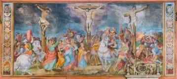Korsfästelsefreskomålning av Giovanni Battista Ricci i kyrkan av San Marcello al Corso italy rome royaltyfria bilder