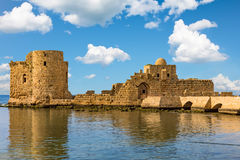 Korsfararehavsslott Sidon Saida South Lebanon royaltyfri fotografi