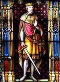 Korsfararekonung Baldwin III av Jerusalem - målat glass i Bruges royaltyfri bild