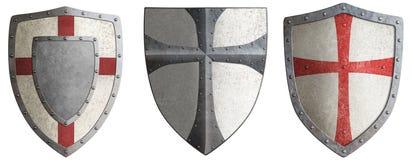 Korsfararens metallsköldar ställde in illustrationen 3d vektor illustrationer