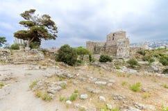 Korsfarareslott, Byblos, Libanon Arkivfoton