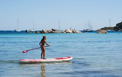 Korsika Santa Giulia strand, hav som är södra, kustlinje, Frankrike, Europa, ö, sommar, Fotografering för Bildbyråer