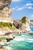 Korsikanskt landskap med havet och kustlinjen, nära Bonifacio Arkivfoto