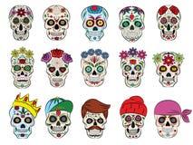 Korslagda benknotor för huvud och för blomning för skallevektor mexikan blommad dött och dum uppsättning för mänsklig tatueringil stock illustrationer